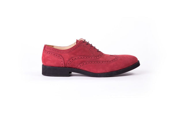 Men's Nabuck 6339 & Black Accented Brogue Wingtip on Black sole.