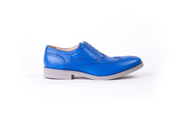Men's Navy Blue & Grey Brogue Wingtip ( EX-124)