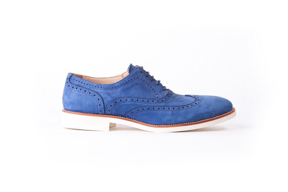 Men's Oceano Blue & Tan with White Sole Brogue Wingtip (EX- 109)