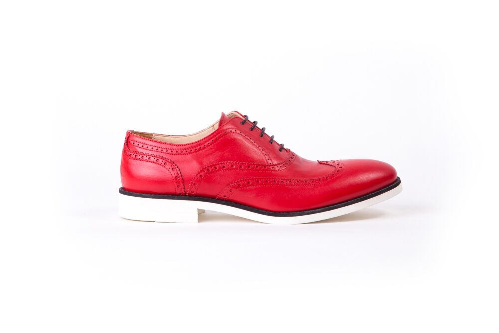 Men's Red & Black Accented with White Sole Brogue Wingtip (EX-112)