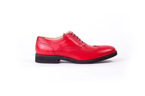 Men's Rosso Brogue Wingtip on Black Classic Sole (EX-31)
