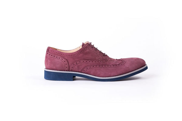 Men's Rust Nubuk & Grey Accented with Blue Sole Broge Wingtip (EX-113)