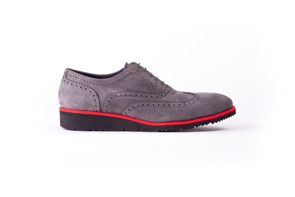 Men's Suede Grey & Red Accented Brogue Wingtip (EX-110)