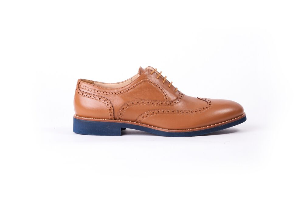 Men's Tan & Tan Accented with Blue sole Brogue Wingtip (EX-122)