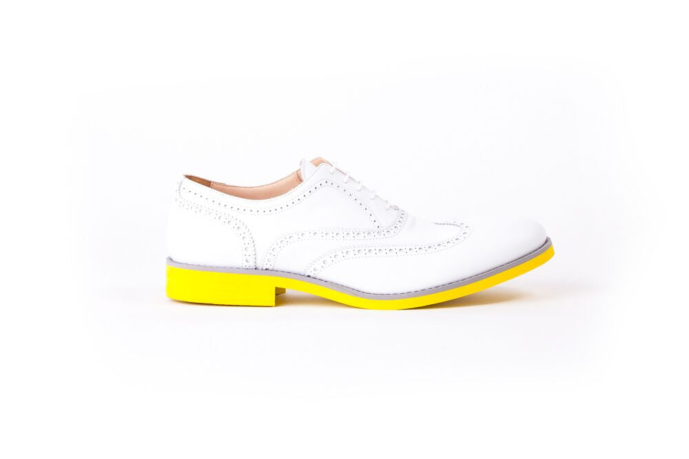 MEN'S WHITE & GREY BROGUE WINGTIP YELLOW SOLE