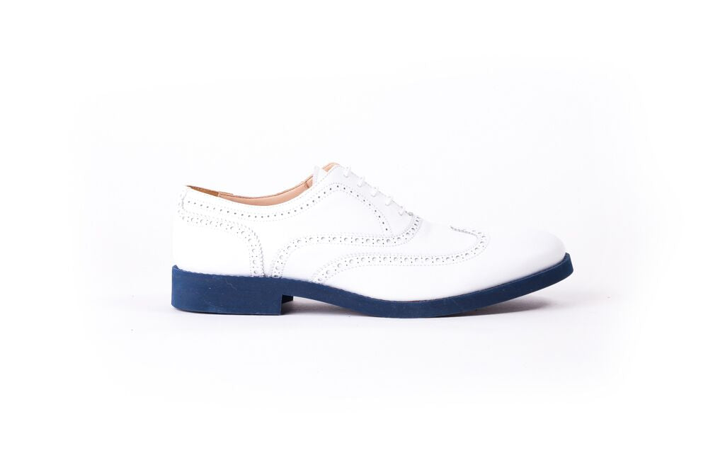 Men's White Brogue Wingtip on Blue Azul Sole