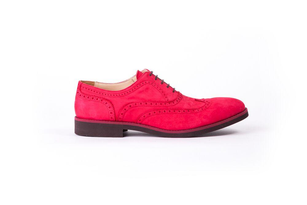 Men's 3491 Nabuck & Maroon Accented Brogue Wingtip on Bordeaux Sole (EX-33)