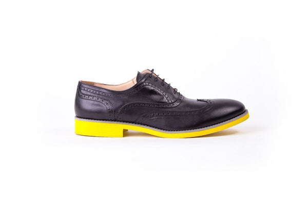MEN'S BLACK & GREY WINGTIP ON YELLOW SOLE (EX28)