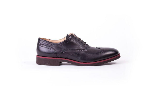 Men's Black & Maroon Accented Brogue Wingtip Brown Sole