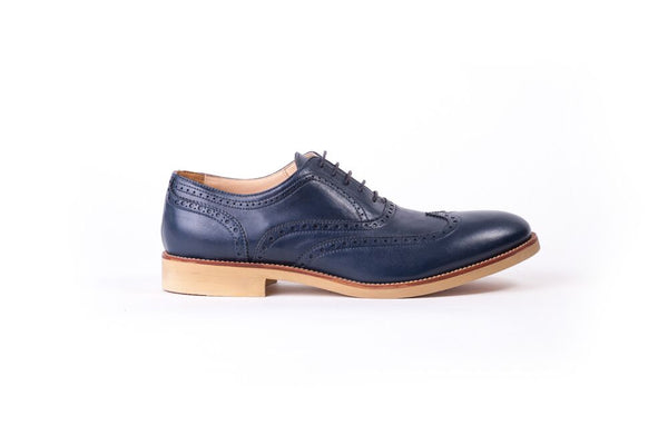 Men's Navy & Tan Accented Brogue Wingtip on Beige Classic sole
