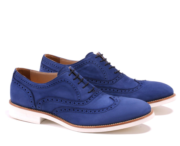 Men's Royal Blue Nabuk Brogue Wingtip with White Sole.