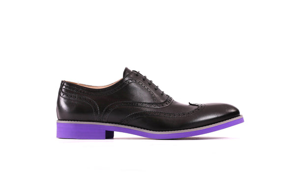 Men's Black & Grey Brogue Wingtip on Purple Sole