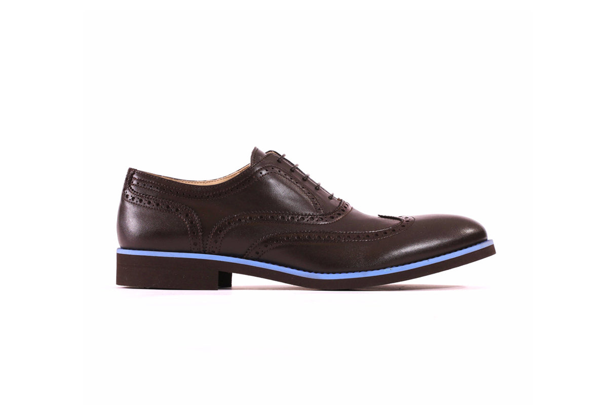 Men's Dark Brown & Sky Blue Brogue Wingtip