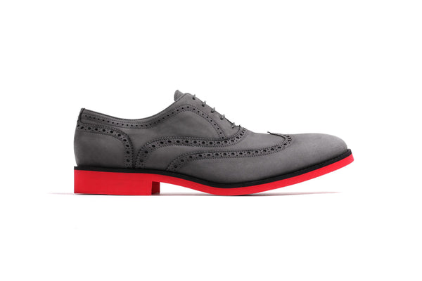 Men's Grey Nabuk & Red Brogue Red Sole Wingtip
