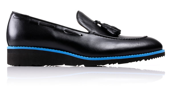 Men's Black & Blue Accented Tassel Loafer with Black Wedge Sole (EX-182)