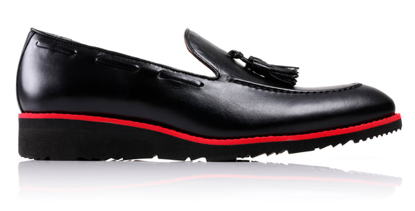 Men's Black & Red Accented Tassel Loafer With Wedge Heel (EX-211)