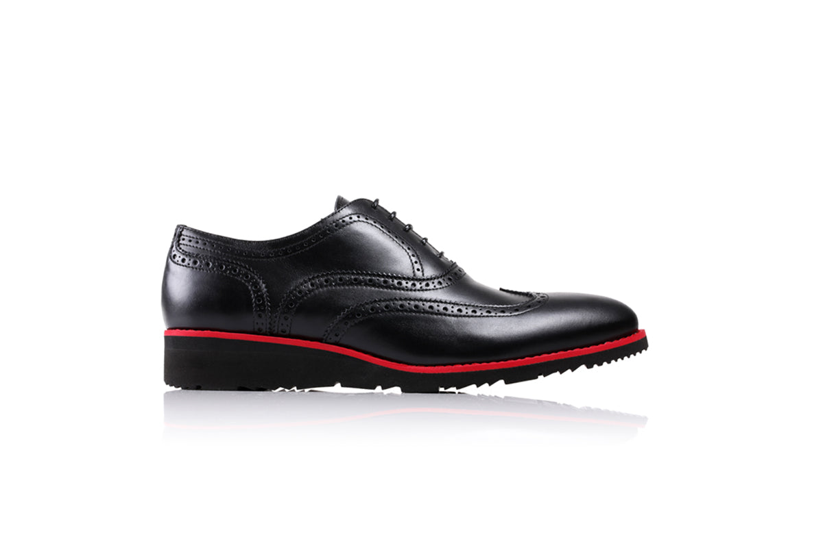 2017 Men's Black & Red Wedge Sole Wingtip