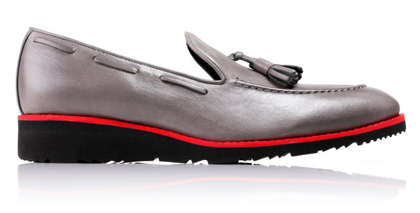 Men's Grey & Red Accented Tassel Loafer with Black Wedge Sole ( Ex-180)