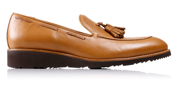 Men's Tan & Tan Accented Tassel Loafer with Brown Wedge Sole (EX-181)