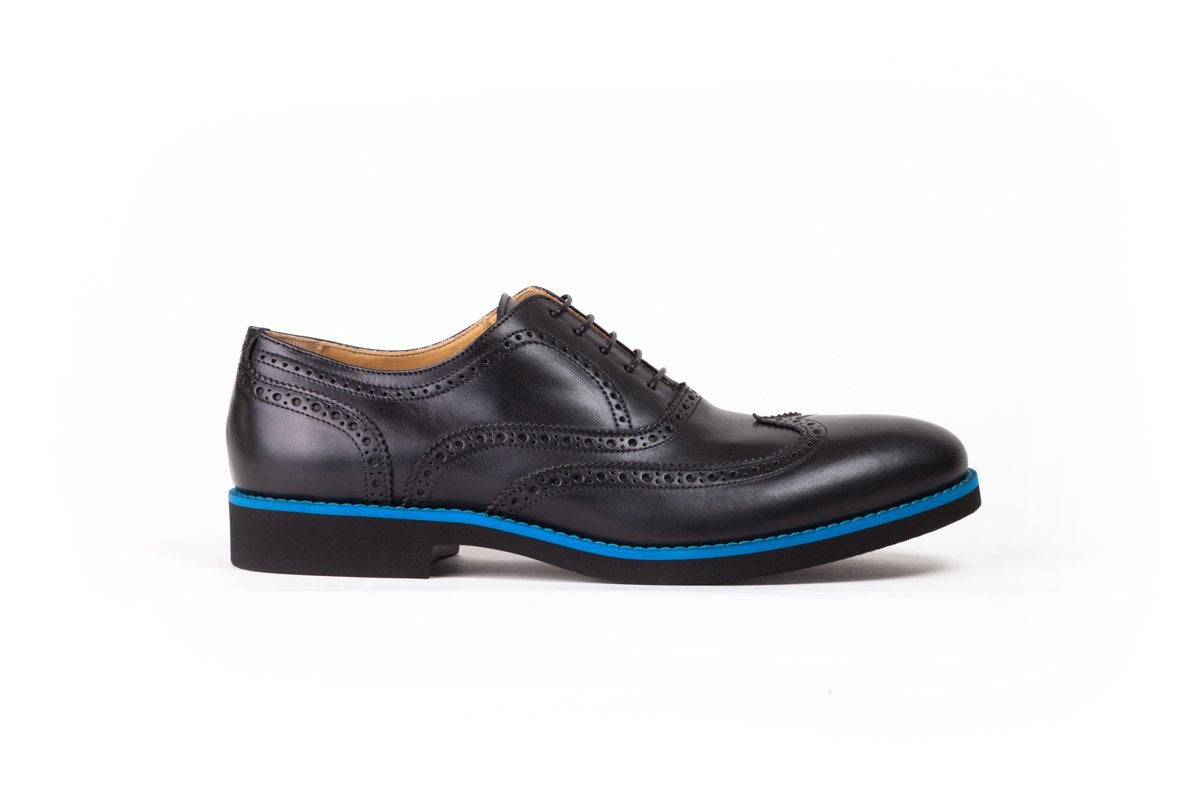 2017 Men's Black & Blue Brogue Wingtip