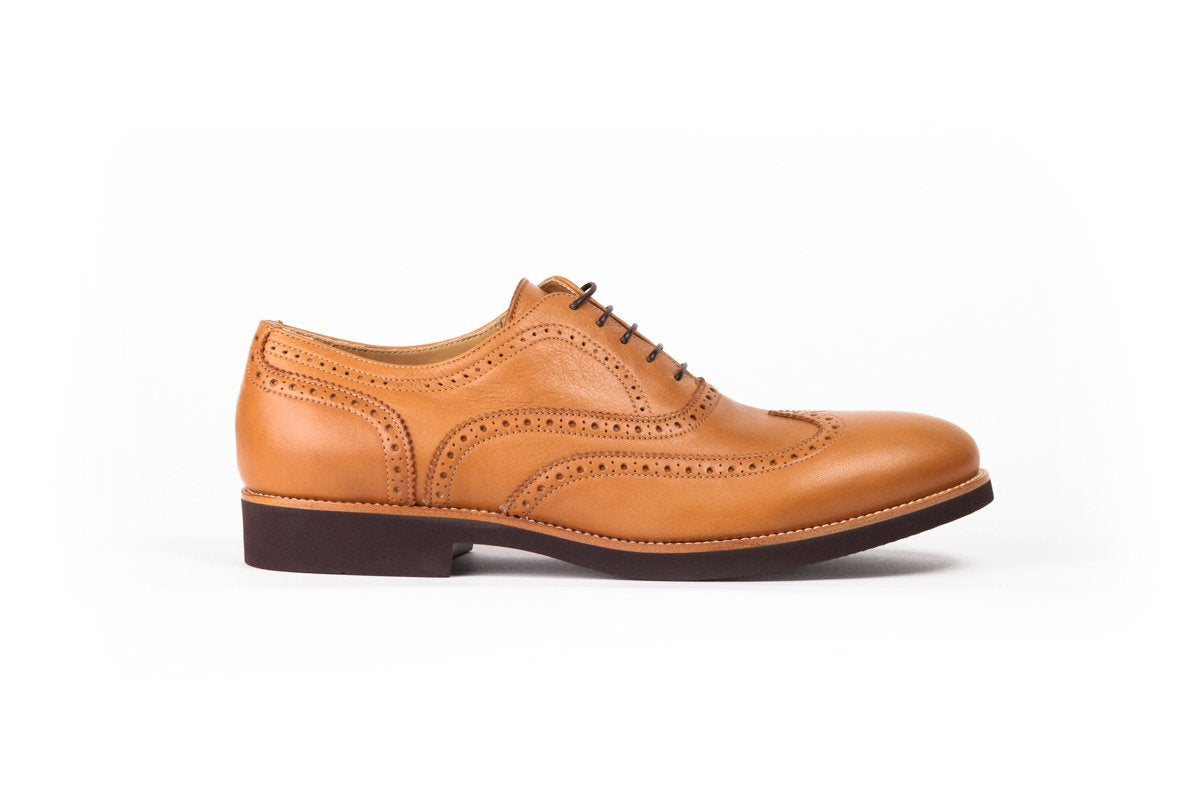 2017 Men's Tan & Brown Brogue Wingtip