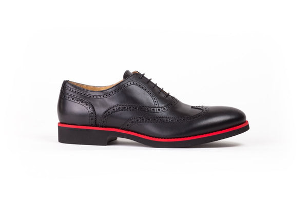 2017 Men's Black & Red Brogue Wingtip