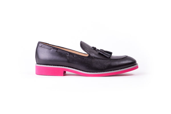 Men's Black & Grey Accented Tassel Loafer with Pink Sole ( EX-144)