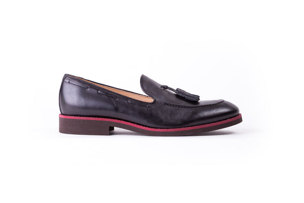 Men's Black & Oxblood Accented Tassel Loafer with Brown Sole (EX-146)