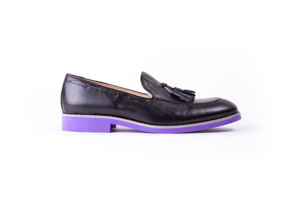Men's Black & Grey Accented Tassel Loafer with Purple Sole ( EX-149)