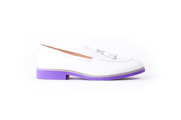 Men's White & Grey Accented Tassel Loafer with Purple Sole (EX-150)