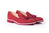 Men's Suede Bordeaux & White Accented Tassel Loafer with Bordeaux Sole ( EX-153)