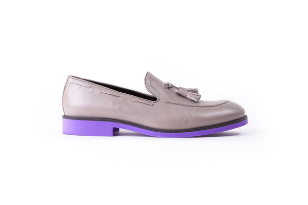 2017 Men's Grey Tassel Loafer with Purple accented Sole