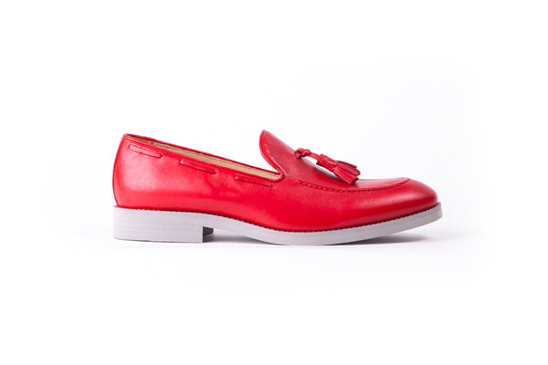 Men's Red Rosso Tassel Loafer with Grey Sole (EX-155)