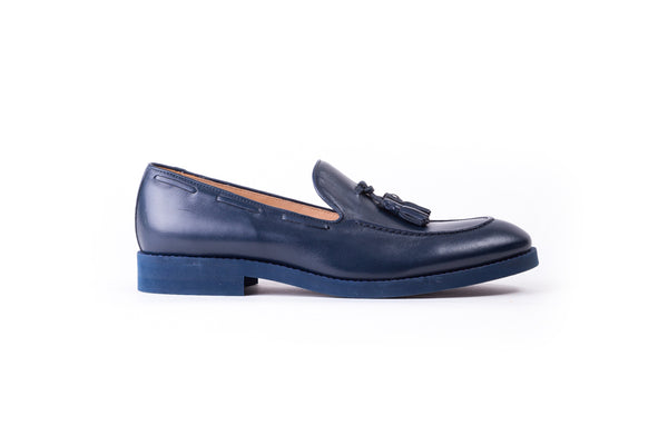 Men's Dark Blue Tassel Loafer with Blue Sole (EX-159)