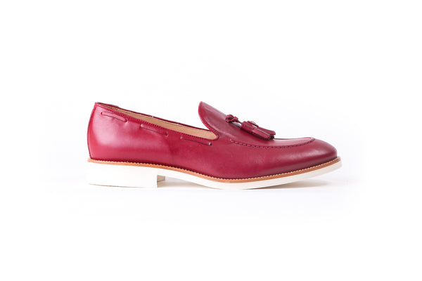 Men's Burgandy & Tan Accented Tassel Loafer with Beige Sole (EX-161)