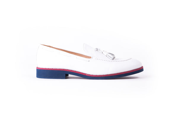 Men's White & Oxblood Accented Tassel Loafer with Blue Sole (EX-162)
