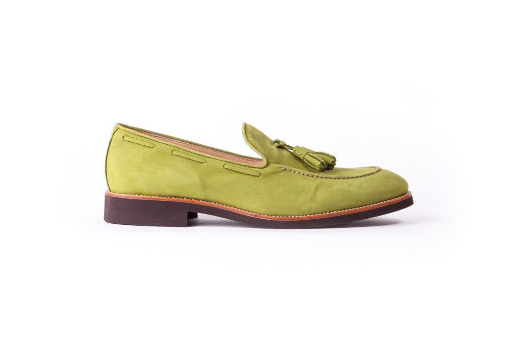 Men's Green & Tan Accented Tassel Loafer with Brown Sole (EX-163)