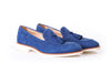 Men's Royal Blue & Tan Accented Tassel Loafer with Beige Sole (EX164)