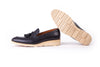 Men's Black & Beige Accented Tassel Loafer with Beige Wedge Sole (EX-166)