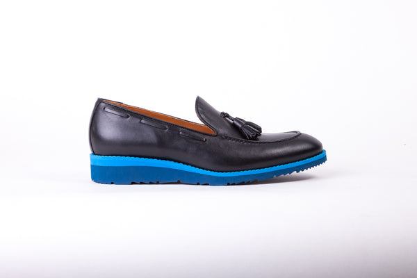 Men's Black & Blue Accented Tassel Loafer with Blue Wedge Sole (EX167)