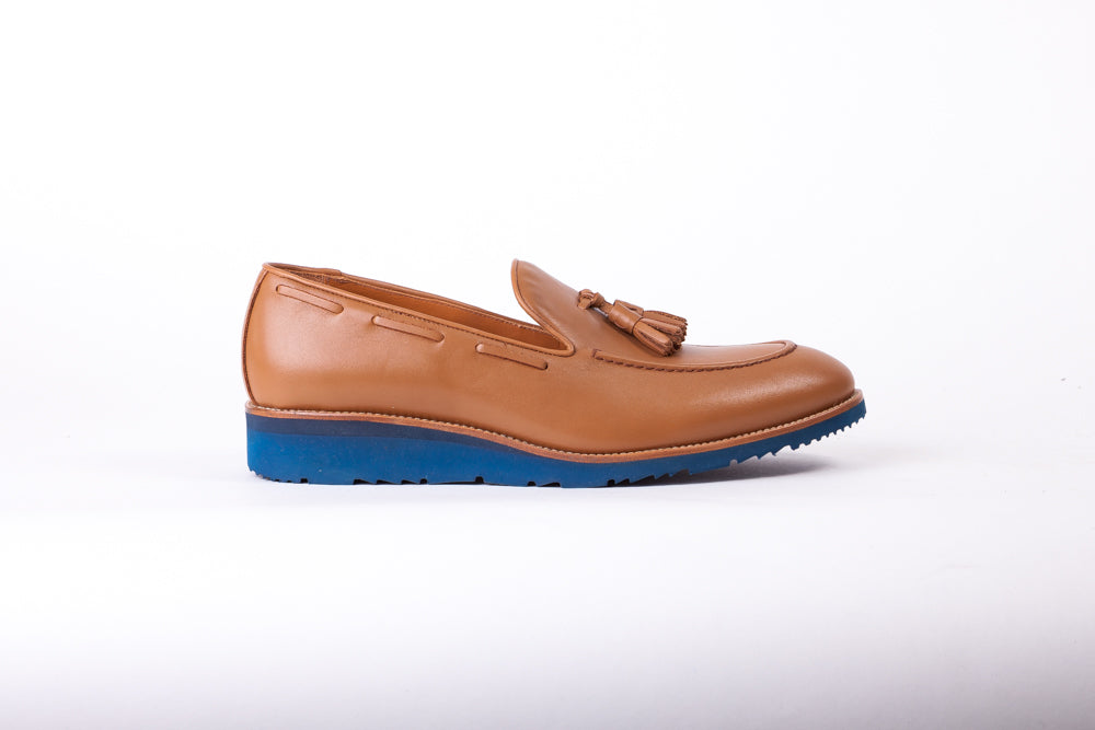 Men's Tan & Tan Accented Tassel Loafer with Blue Wedge Sole (EX169)