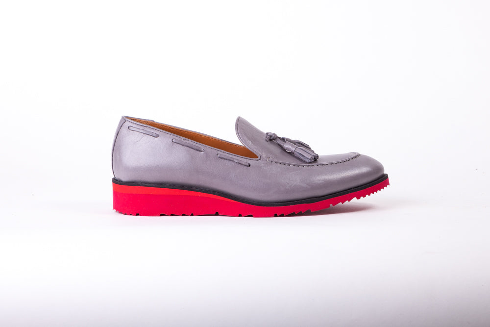 Men's Grey & Black Accented Tassel Loafer with Red Wedge Sole (EX-168)