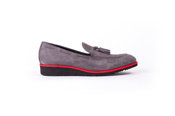 Men's Grey & Red Accented Tassel Loafer with Black Wedge Sole (EX- 171)