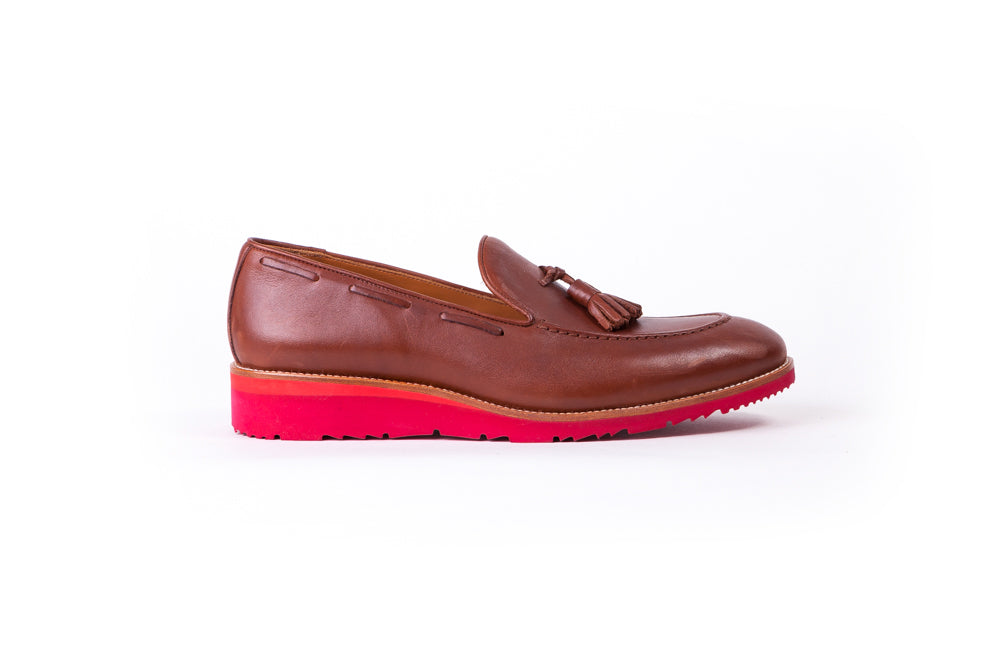 Men's Tan & Tan Accented Tassel Loafer with Rossa Red Wedge sole - (EX-172)