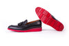 Men's Black & Oxblood Accented Tassel Loafer with Red Wedge sole (EX-173)