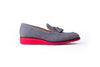 Men's Grey & Black Accented Tassel Loafer with Red Wedge Heel ( EX-212)