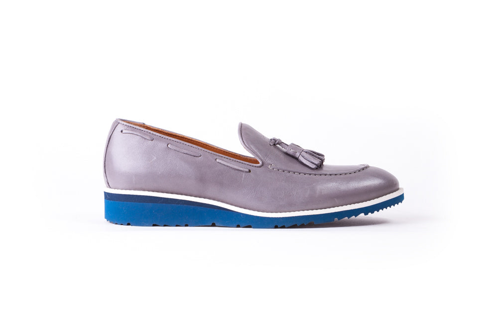 Men's Grey & White Accented Tassel Loafer with Blue Azul Wedge Sole (EX-174)