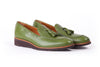 Men's Green & Tan Accented Tassel Loafer with Brown Wedge Sole (EX-175)
