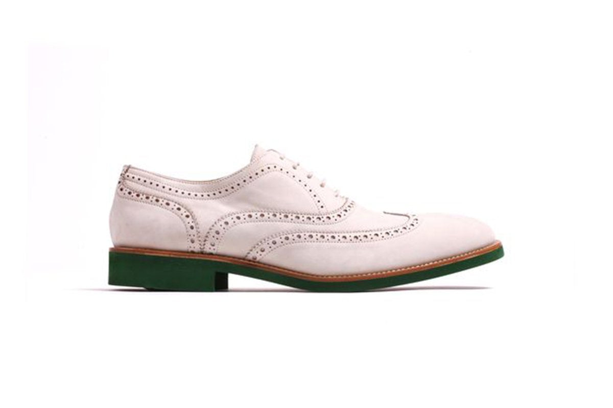 2017 Men's Beige Nabuk & Green Brogue Wingtip
