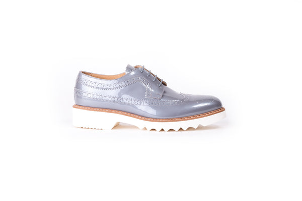 Women's Patent Dark Grey & Tan Brogue Wingtip.EX 347 (2017)